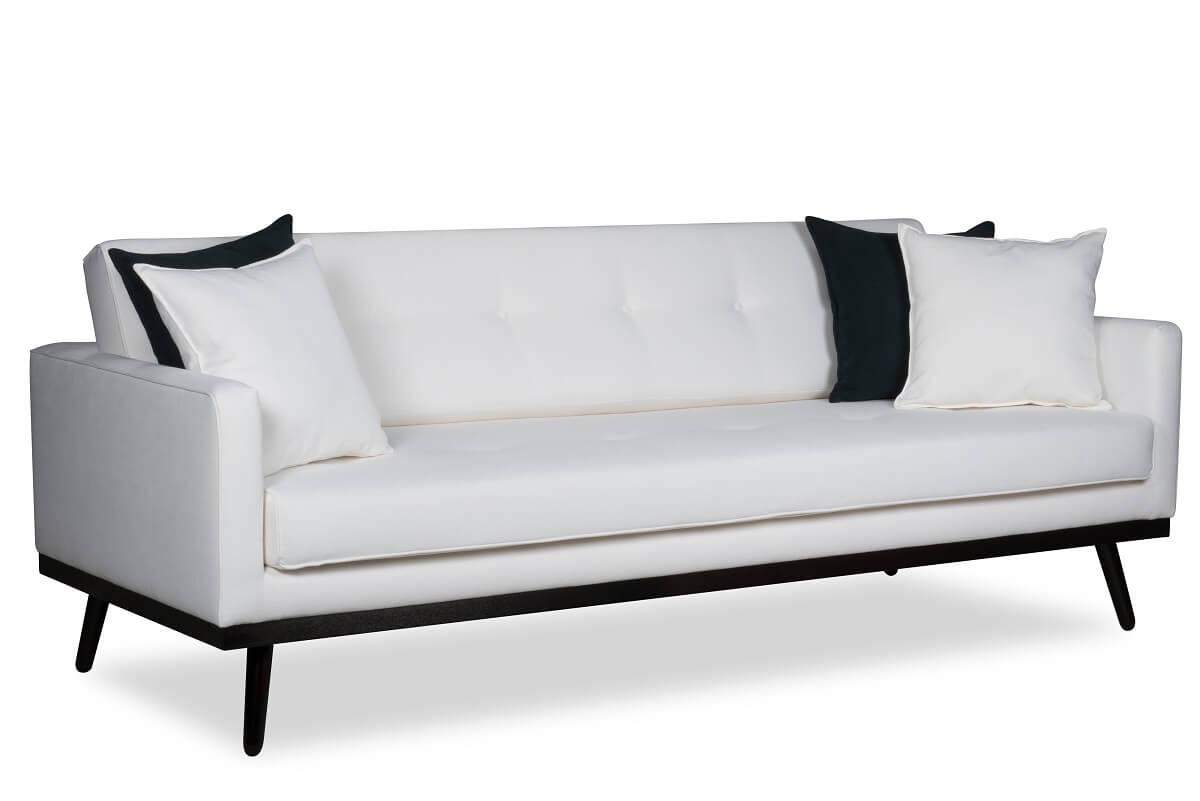 sofa biała z czarnymi dodatkami